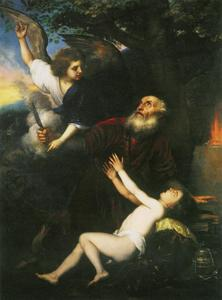 De engel weerhoudt Abraham om Isaak te offeren (Genesis 22:1-13)