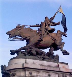 Jeanne d' Arc te paard springend over een gevallen soldaat