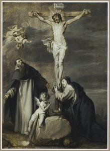 De gekruisigde Christus aanbeden door de HH. Dominicus en Catharina van Siena