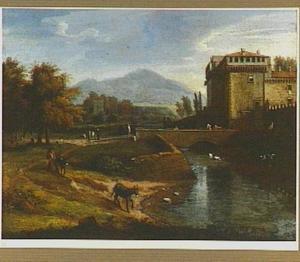 Landschap met de poort van L'Abbazia di Grottaferrata