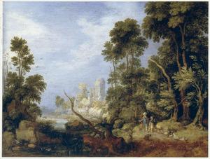 Landschap met Abraham en Isaak op weg naar de berg in het land Moria (Genesis 22:6)