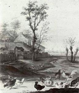 Landschap met pluimvee bij een boerderij
