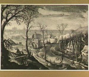 Winterlandschap met de kindermoord te Bethlehem