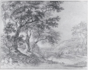 Bomen langs een vijver met in de verte een watermolen