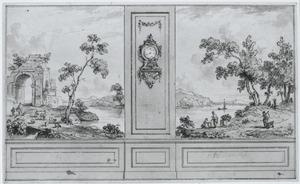 Zijwand met tussenstuk geflankeerd door twee landschappen