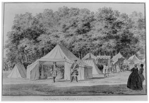 Het campement op het Malieveld te Den Haag met waarschijnlijk de tent van kolonel-commandant Hoeufft van Oyen, 1742