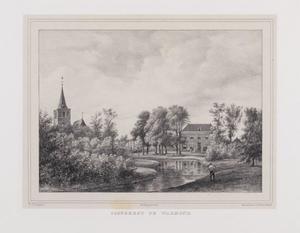 Parklandschap met gezicht op de hofstede Oostergeest en de Sint Matthiaskerk te Warmond
