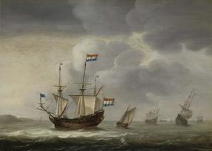 Hollandse driemaster en andere schepen voor de kust