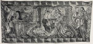 De visitatie, de verkondiging aan de herders, de geboorte van Christus en de Heilige Familie
