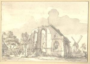 Ruine van het nonnenklooster Engelhuizen in Groenlo anno 1491