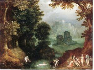 Landschap met de ontdekking van de zwangerschap van Callisto (Ovidius, Metamorphoses 2, 401-532)