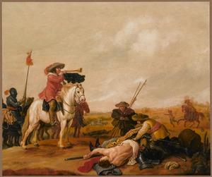 Landschap met soldaten die na de slag een lijk beroven