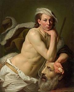 Zelfportret van John Zoffany als David met het hoofd van Goliath