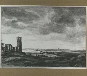 Landschap met ruïne van de kerk van Muiderberg