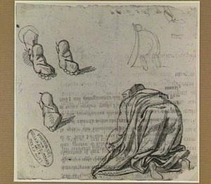 Geknielde figuur, op de rug gezien; studies van voeten