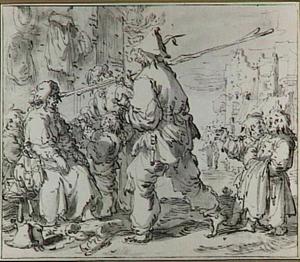 Straatscène met een man die een lange stok over zijn schouder draagt en andere figuren