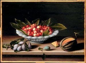Vruchtenstilleven met kersen, pruimen en een meloen