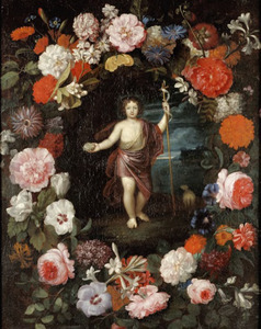 Bloemenkrans met de H. Johannes de Doper als kind
