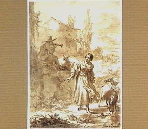Herderin en herder met fluit en vee