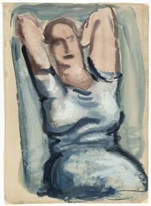 Portret van een vrouw, de handen gevouwen achter in de nek