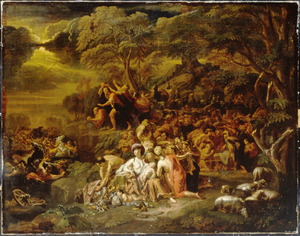 De doortocht door de Rode Zee: de Israelieten bereiken ongedeerd de andere oever, het leger van farao wordt door het water verzwolgen (Exodus 14:22-31)