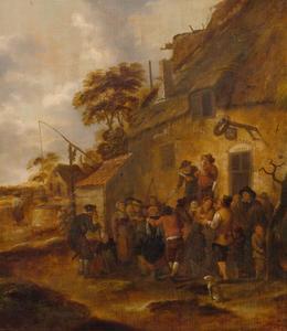 Zingend paar met toeschouwers bij een herberg