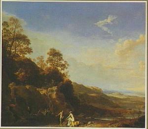 Zuidelijk landschap met Diana en Actaeon