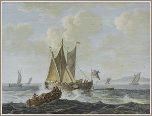 Roeiboot met tonnen en zeilboten op zee voor rotsachtige kust