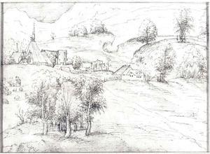 Heuvellandschap met dorp