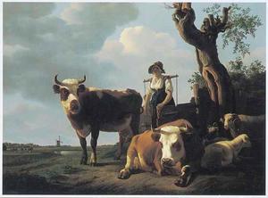 Landschap met melkmeisje en vee, met links op de achtergrond de buitenplaats Weizigt