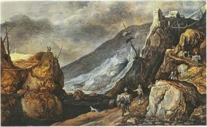 Berglandschap met de verleiding van Christus