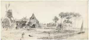 Gezicht op Schoonhoven met de Vrouwenpoort, molen en torentje van het stadhuis
