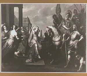 Jefta door zijn dochter begroet. Jefta scheurt zich in wanhoop de kleren (Richteren 11:34)