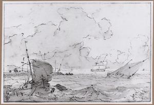 Zeilschepen bij een kust