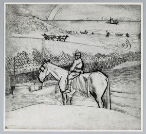 Man op wit paard