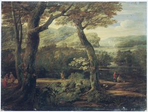 Bebost heuvellandschap met een visser en enkele reizigers