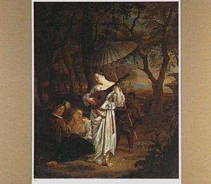 Een jonge vrouw spelend op de luit voor een amoureus paartje, met een bediende