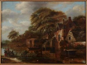 Rivierlandschap met huizen