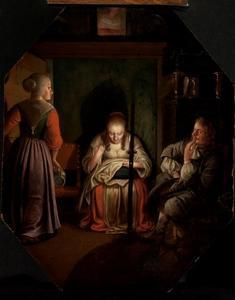 Naaiende vrouw, Cavalier en dienstmeid bij kaarslicht