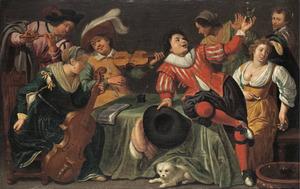 Vrolijk gezelschap met muzikanten in een interieur