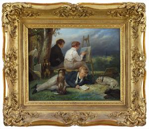 Portret van de drie gebroeders Scheffer in een landschap