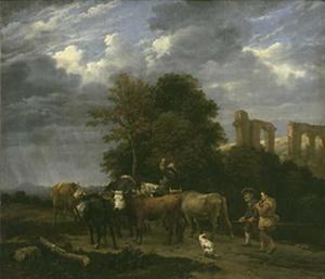 Herders in een landschap met een aquaduct