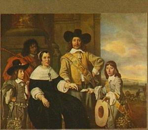 Familieportret van Rijcklof van Goens (1619-1682), Jacomine Bartolomeusdr. Rosegaard (1616-1667) en hun kinderen Rijcklof van Goens (1642-1687) en Volckert van Goens (1644-1690), met een bediende