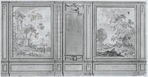 Kamerwand met twee behangselvlakken ter weerszijden van een penantspiegel