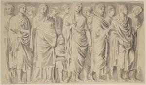 Reliëf met de optocht van Agrippa en Livia, onderdeel van de Ara Pacis Augustae (in spiegelbeeld)