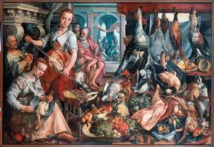 De welvoorziene keuken met Christus bij Martha en Maria