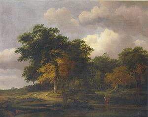 Bebost landschap met een weg, Huis ten Bosch aan de horizon
