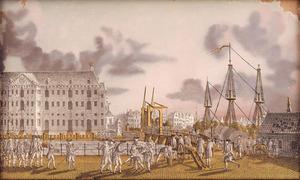 Amsterdam, gevecht bij de Kattenburgerbrug tussen de patriottische burgerwacht en de oranjegezinde scheepstimmerlui, op 30 mei 1787