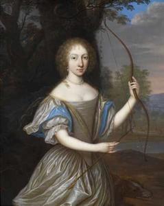 Portret van een jonge vrouw, vermoedelijk ten onrechte geïdentificeerd als Anna Dorothea von Lehndorff (1645-1676), als Diana