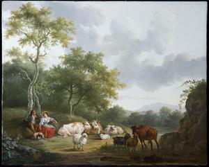 Landschap met herderspaar en vee